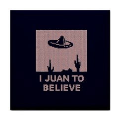 I Juan To Believe Ugly Holiday Christmas Blue Background Tile Coasters