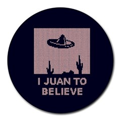 I Juan To Believe Ugly Holiday Christmas Blue Background Round Mousepads