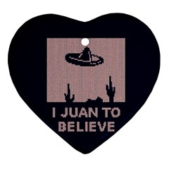 I Juan To Believe Ugly Holiday Christmas Blue Background Ornament (Heart)
