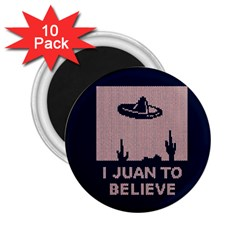 I Juan To Believe Ugly Holiday Christmas Blue Background 2.25  Magnets (10 pack)