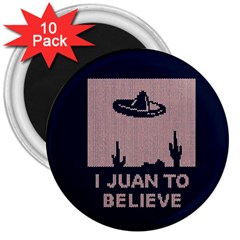 I Juan To Believe Ugly Holiday Christmas Blue Background 3  Magnets (10 Pack)