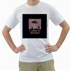 I Juan To Believe Ugly Holiday Christmas Blue Background Men s T-Shirt (White) (Two Sided)