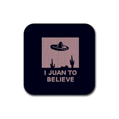 I Juan To Believe Ugly Holiday Christmas Blue Background Rubber Coaster (Square)