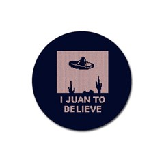 I Juan To Believe Ugly Holiday Christmas Blue Background Magnet 3  (Round)