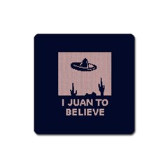 I Juan To Believe Ugly Holiday Christmas Blue Background Square Magnet