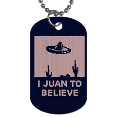 I Juan To Believe Ugly Holiday Christmas Blue Background Dog Tag (Two Sides)