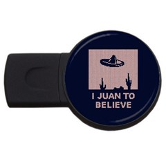 I Juan To Believe Ugly Holiday Christmas Blue Background USB Flash Drive Round (2 GB)