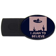 I Juan To Believe Ugly Holiday Christmas Blue Background USB Flash Drive Oval (1 GB)