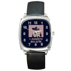 I Juan To Believe Ugly Holiday Christmas Blue Background Square Metal Watch