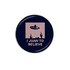 I Juan To Believe Ugly Holiday Christmas Blue Background Hat Clip Ball Marker