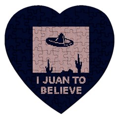 I Juan To Believe Ugly Holiday Christmas Blue Background Jigsaw Puzzle (Heart)