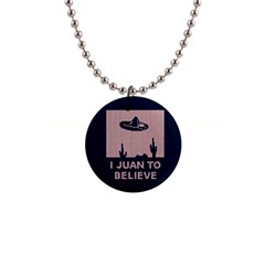 I Juan To Believe Ugly Holiday Christmas Blue Background Button Necklaces