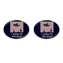 I Juan To Believe Ugly Holiday Christmas Blue Background Cufflinks (Oval)