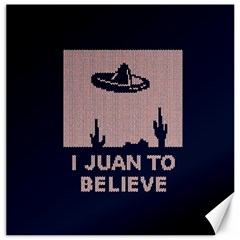 I Juan To Believe Ugly Holiday Christmas Blue Background Canvas 16  x 16