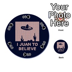 I Juan To Believe Ugly Holiday Christmas Blue Background Playing Cards 54 (Round)