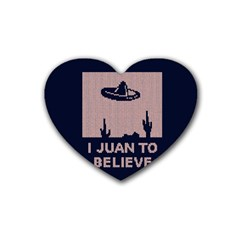 I Juan To Believe Ugly Holiday Christmas Blue Background Heart Coaster (4 pack)