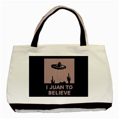 I Juan To Believe Ugly Holiday Christmas Blue Background Basic Tote Bag (Two Sides)