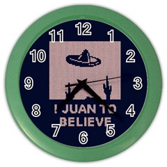I Juan To Believe Ugly Holiday Christmas Blue Background Color Wall Clocks