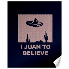 I Juan To Believe Ugly Holiday Christmas Blue Background Canvas 11  x 14