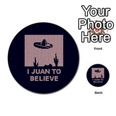 I Juan To Believe Ugly Holiday Christmas Blue Background Multi Purpose Cards (round)