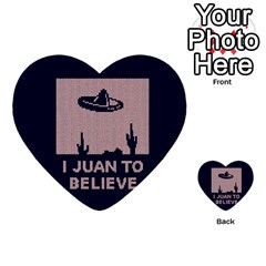 I Juan To Believe Ugly Holiday Christmas Blue Background Multi-purpose Cards (Heart)