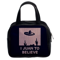 I Juan To Believe Ugly Holiday Christmas Blue Background Classic Handbags (2 Sides)