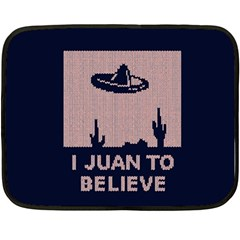I Juan To Believe Ugly Holiday Christmas Blue Background Double Sided Fleece Blanket (Mini)
