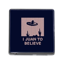 I Juan To Believe Ugly Holiday Christmas Blue Background Memory Card Reader (Square)