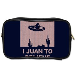 I Juan To Believe Ugly Holiday Christmas Blue Background Toiletries Bags