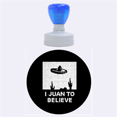 I Juan To Believe Ugly Holiday Christmas Blue Background Rubber Round Stamps (Large)