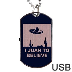 I Juan To Believe Ugly Holiday Christmas Blue Background Dog Tag Usb Flash (one Side)