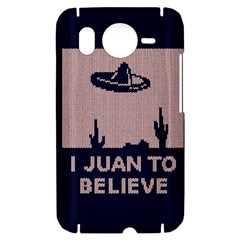 I Juan To Believe Ugly Holiday Christmas Blue Background HTC Desire HD Hardshell Case
