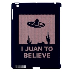 I Juan To Believe Ugly Holiday Christmas Blue Background Apple iPad 3/4 Hardshell Case (Compatible with Smart Cover)