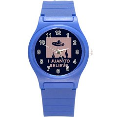 I Juan To Believe Ugly Holiday Christmas Blue Background Round Plastic Sport Watch (S)
