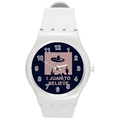I Juan To Believe Ugly Holiday Christmas Blue Background Round Plastic Sport Watch (M)