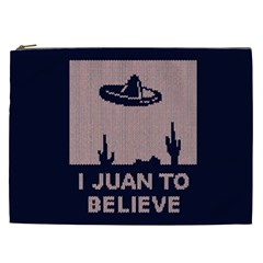 I Juan To Believe Ugly Holiday Christmas Blue Background Cosmetic Bag (XXL)