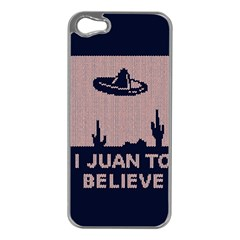 I Juan To Believe Ugly Holiday Christmas Blue Background Apple iPhone 5 Case (Silver)