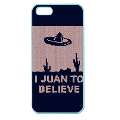 I Juan To Believe Ugly Holiday Christmas Blue Background Apple Seamless iPhone 5 Case (Color)