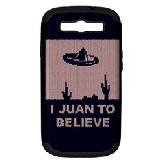 I Juan To Believe Ugly Holiday Christmas Blue Background Samsung Galaxy S III Hardshell Case (PC+Silicone)