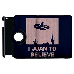 I Juan To Believe Ugly Holiday Christmas Blue Background Apple iPad 3/4 Flip 360 Case