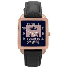 I Juan To Believe Ugly Holiday Christmas Blue Background Rose Gold Leather Watch
