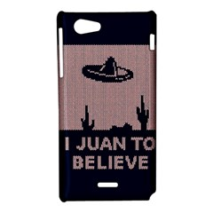 I Juan To Believe Ugly Holiday Christmas Blue Background Sony Xperia J