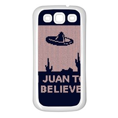 I Juan To Believe Ugly Holiday Christmas Blue Background Samsung Galaxy S3 Back Case (White)