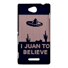 I Juan To Believe Ugly Holiday Christmas Blue Background Sony Xperia C (S39H)