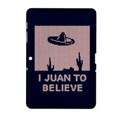 I Juan To Believe Ugly Holiday Christmas Blue Background Samsung Galaxy Tab 2 (10.1 ) P5100 Hardshell Case