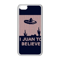 I Juan To Believe Ugly Holiday Christmas Blue Background Apple iPhone 5C Seamless Case (White)