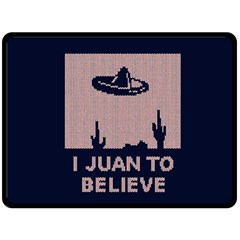 I Juan To Believe Ugly Holiday Christmas Blue Background Double Sided Fleece Blanket (Large)