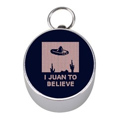 I Juan To Believe Ugly Holiday Christmas Blue Background Mini Silver Compasses