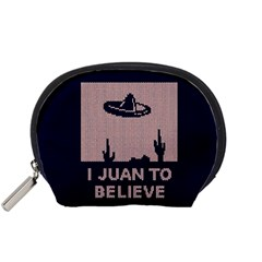 I Juan To Believe Ugly Holiday Christmas Blue Background Accessory Pouches (Small)