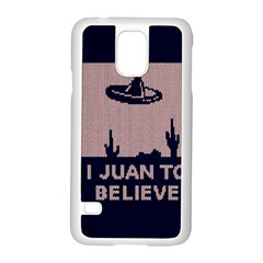 I Juan To Believe Ugly Holiday Christmas Blue Background Samsung Galaxy S5 Case (White)